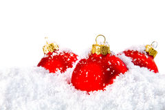 Christmas holiday decoration with white snow Stock Photography