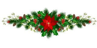 Christmas holiday decorations. Christmas decorations with poinsettia, fir tree, pine cones, holly, berries and decorative elements. Design element for Christmas stock illustration