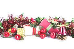 Christmas holiday decorations giftboxes packing on white backgro stock images
