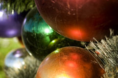 Christmas holiday decorations hanging from tree Royalty Free Stock Images
