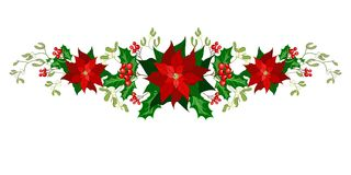 Christmas holiday decorations with poinsettia. Christmas decorations with poinsettia, holly, berry and mistletoe. Design element for Christmas decoration. Vector stock illustration