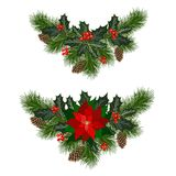 Christmas holiday decorations. Christmas decorations with poinsettia, fir tree, pine cones, holly, berries and decorative elements. Design element for Christmas vector illustration