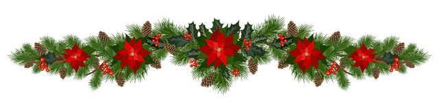 Christmas holiday decorations. Christmas decorations with poinsettia, fir tree, pine cones, holly, berries and decorative elements. Design element for Christmas royalty free illustration