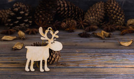 Christmas, holiday decorations, on wooden background Royalty Free Stock Photos