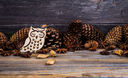 Christmas, holiday decorations, on wooden background Stock Image
