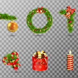 Christmas holiday decorative elements set isolated on transparent background.  illustration Royalty Free Stock Photos