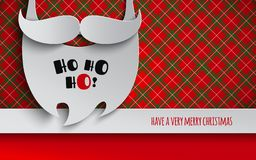 Christmas holiday design for banner, poster, flyer, greeting invitation. Background with mustache and beard of Santa Claus. Text stock illustration