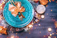 Free Christmas Holiday Dinner Table Setting. Tabletop, Top View. New Year, Xmas Table Decoration With Blue Plate, Colorful Decor Royalty Free Stock Images - 165480449