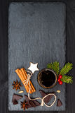 Christmas holiday drink. Spicy hot chocolate with anise and cinnamon. Free text copy space background Royalty Free Stock Image