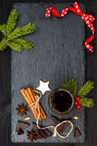 Christmas holiday drink. Spicy hot chocolate with anise and cinnamon. Free text copy space background Stock Image