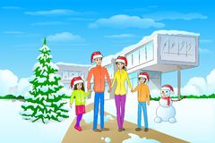 Christmas holiday family modern house winter snow. Christmas holiday happy family in front of modern house winter snow, parents with children love smile wear red Royalty Free Stock Images