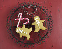 Christmas holiday festive baking with gingerbread men cookies Royalty Free Stock Image