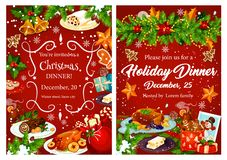 Christmas holiday festive dinner invitation card. Xmas turkey, cake and mulled wine, cookie, turron nut dessert and gingerbread banner, decorated by Christmas royalty free illustration