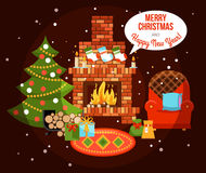 Christmas Holiday Fireplace Illustration. Flat design new year holiday decorated room with fireplace christmas tree and presents vector illustration Royalty Free Stock Photo