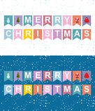Christmas holiday flags garlands. Letters on flag. New Years sy. Mbols: Santa Claus and Christmas tree vector illustration