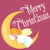 Christmas holiday flying angel with wings sleep on the moon like symbol in Christian religion or new year vector Royalty Free Stock Photography