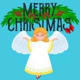 Christmas holiday flying happy angel with wings like symbol in Christian religion or new year vector illustration Stock Photos