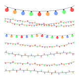 Christmas holiday garland lights in flat style vector set Stock Photos