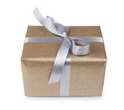Christmas holiday gift box in golden paper isolated on white Royalty Free Stock Photos