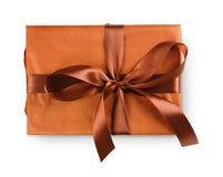 Christmas holiday gift box  on white Royalty Free Stock Image