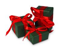 Christmas holiday gift boxes in green paper isolated on white Stock Images