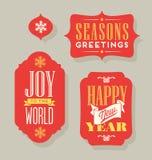 Christmas Holiday gift tags vintage typography design elements. Retro Christmas Holiday gift tags vintage typography design elements Royalty Free Stock Image