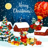 Christmas holiday gifts on snow greeting card royalty free illustration