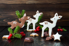 Christmas holiday gingerbread baby deer or fawn cookies Royalty Free Stock Photos