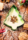 Christmas and holiday Gingerbread baking background dough, Royalty Free Stock Photos
