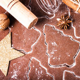 Christmas and holiday Gingerbread baking background dough, flour Stock Images