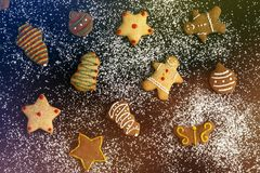 Christmas holiday gingerbread on colorful background royalty free stock images