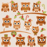 Christmas Holiday Gingerbread Cookie Owls in Vector Format Royalty Free Stock Images