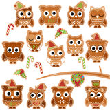 Christmas Holiday Gingerbread Cookie Owls in Vector Format. Christmas Holiday Gingerbread Cookie Owls or Birds in Vector Format royalty free illustration