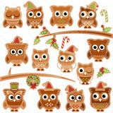Christmas Holiday Gingerbread Cookie Owls in Vector Format Royalty Free Stock Photography