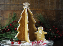 Christmas holiday gingerbread man and tree Royalty Free Stock Photo