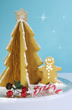 Christmas holiday gingerbread man and tree Stock Photos