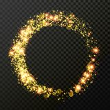 Christmas holiday golden glitter circle wave trail background template of sparkling. Gold particles trace and shiny light effect. Vector glittering shimmer Royalty Free Stock Image