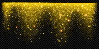 Christmas holiday golden glitter snow overlay effect background template of sparkling gold particles and shiny confetti light. Vec stock illustration