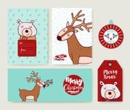 Christmas holiday greeting card animal cartoon set Stock Photo