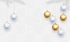Christmas holiday greeting card background template of golden ball decorations. On Christmas tree branches. Vector New Year gold glitter stars confetti on royalty free illustration