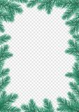 Christmas New Year greeting card background template fir tree branch frame. Christmas holiday greeting card background template of New Year fir or pine tree Stock Images