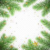 Christmas holiday greeting card background template of New Year fir tree branch wreath frame and golden stars confetti. Vector Chr. Istmas or New Year decoration Royalty Free Stock Images