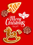 Christmas holiday greeting card with gingerbread Stock Photo