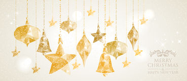 Christmas Holiday hanging baubles banner background Stock Photography