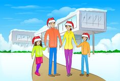 Christmas holiday happy family in front of modern Stock Photography