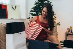 Christmas holiday happy woman with shopping bags at home. New Year.  royalty free stock photos