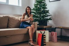Christmas holiday happy woman with shopping bags at home. New Year.  stock images