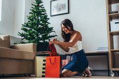 Christmas holiday happy woman with shopping bags at home. New Year.  stock photography