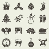 Christmas holiday icons Stock Photos