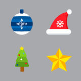 Christmas holiday icons vector set. Royalty Free Stock Photo